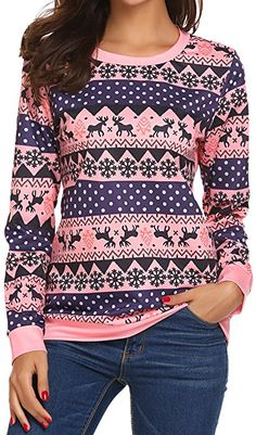 66e9e9e38f5 Women's Ugly Christmas Reindeer Snowflakes Printed Outside Sweater Pullover  Pink M