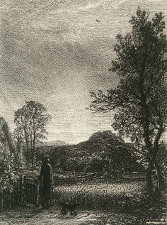 Samuel Palmer  The Skylark Etching, 1850, seventh and final state, on chine aplique, published as plate 17 in Etchings of the Art Union of London by the Etching Club; apparently in good condition, unexamined out of the frame, 120mm x 100mm (4 3/4in x 4in)(PL) Together with an etching by John Crome