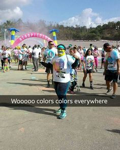THINK BLUE: Today's morning was a colorful success lol  This was before  purple powder was poured on my head lol  Good Times @rorosaga #tropicolor #thecolorrun #dodgersbaby #LA #runitout #attheendweareallthesamecolor #runforestrunnn #colorseverywhere #positivevibes #todaysadventure #saturdayvibes #whatatimetobealive by va_neyney