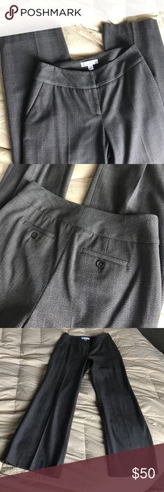 Baby Blue Pin Stipe Brown Smooth Tweed Work Slacks Perfect, excellent condition. Smoke free home. Very sexy wide hippie chic professional pants. Made in Turkey. Two petite. Wide tip band with rectangle hook and eyes. Zipper front works. Classic funky style. Suit back pockets with buttons. 40% rayon 47% polyester and 5% Lycra spandex. Stretch. Fit. Caslon Pants Trousers
