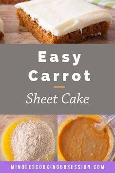 Carrot Sheet Cake Recipe, Carrot Cake Topping, Sheet Cake Recipes, Baby Food Recipes, Baking Recipes, Dessert Recipes, Cupcake Cakes, Cupcakes, Moist Carrot Cakes