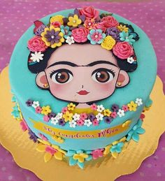 Frida Kahlo cake for fiesta theme party, Birthday, baby shower bridal shower Fondant Baby, Birthday Cake Fondant, Bolo Fondant, Birthday Cupcakes, Fondant Cakes, Cupcake Cakes, Mexican Birthday Parties, Mexican Party, Birthday Party Themes