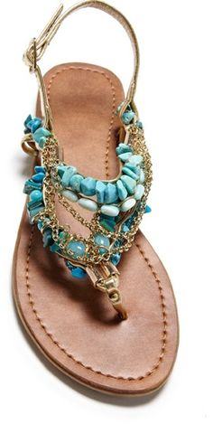 Blue, embellished sandals