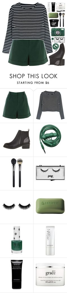 """""""//pine//"""" by bananafrog ❤ liked on Polyvore featuring Warehouse, Urbanears, MAC Cosmetics, Pop Beauty, Borghese, Topshop, NARS Cosmetics, Givenchy and philosophy"""