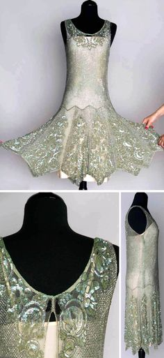Beaded and sequined dance dress, 1920s. Seafoam green, silver bugle bead lattice pattern with iridescent sequined roses at neckline hem.