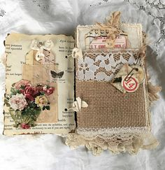 Remember... This gorgeous heirloom journal is a one of a kind beauty handmade by me filled with lots of unique vintage fabrics, laces, eyelet, and more. Cover constructed from fabric, old lace, vintage book pages, vintage inspired rhinestone, metal bezel, vintage buttons, vintage