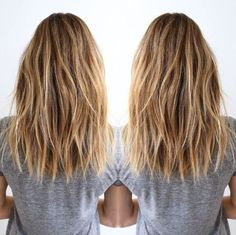 Frisuren Layered, Brown, Blonde Balayage - Shoulder Size Coiffure for Thick A Cocktail Cos Long Layered Haircuts, Long Bob Hairstyles, Everyday Hairstyles, Natural Hairstyles, Long To Medium Haircuts, Hair Layers Medium, Thick Hair Styles Medium, Blonde Haircuts, Trending Hairstyles
