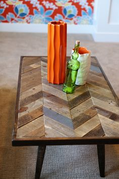 Cute accessories on reclaimed coffee table designed by Lindy Allen of Four Chairs Furniture. www.4-chairs.com