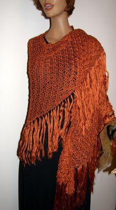 rich Copper  color Silk  triangle Shawl  golden Wrap for the Fall