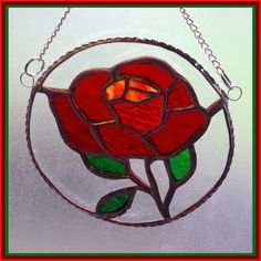 £14.00  Red Rose Ring Suncatcher Stained Glass Valentine Mothers Day Handmade with Love