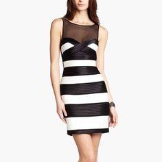 Nwot Bcbgmaxazria Black Dress Striped Bandage 2us