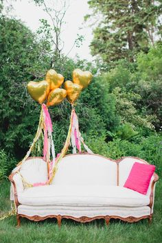 LOVE this couch with balloons for a baby shower sip and see on Kara's Party Ideas. Would be perfect for a wedding or photo shoot, too! www.KarasPartyIdeas.com for more images and lovely party photos.