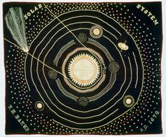A quilt of the Solar System made in 1876 by Ellen Harding Baker of Cedar County, Iowa. It was used to illustrate astronomy lectures.