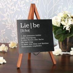 Tischaufsteller Definition Liebe zur Hochzeit mit Namen des Paares