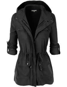 LE3NO Womens Lightweight Military Anorak Jacket with Hoodie | LE3NO