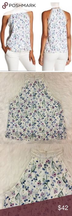 """NWT T Tahari Donna Blouse Floral w/ Lace Trim Brand New T Tahari Donna Blouse - Feminine Chic Floral Print w/ Lace Trim. Sleevless, High """"Choker"""" Neckline,  Cutaway Shoulders, Hook & Eye Closure at Back Neck, Floral Print and Embroidery Construction (Textural Raised Parts), Lined, Side Split Seams. Women's Size Large. See Photos for Details!   100% Polyester. Dry Clean.   MEASUREMENTS LAYING FLAT:  Pit to Pit: 20.5"""" Overall Length: 26""""  << No Trades >> T Tahari Tops Blouses"""