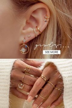 Find your perfect stack with Girls Crew jewelry. Find your perfect stack with Girls Crew jewelry. The post Find your perfect stack with Girls Crew jewelry. appeared first on Ohrringe ideen. Ear Jewelry, Cute Jewelry, Body Jewelry, Jewelery, Jewelry Accessories, Girls Jewelry, Innenohr Piercing, Piercing Orbital, Cute Ear Piercings