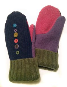 Wool Sweater Mittens Warm Fleece Lined Upcycled by TreasuredHeart Felt Crafts Diy, Felted Wool Crafts, Sewing Crafts, Recycle Crafts, Repurpose, Sweater Mittens, Wool Sweaters, Old Sweater Crafts, Mittens Pattern