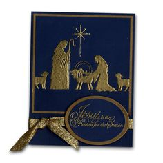 stampendous+nativity+scene+card | ideas cards and invitations stamped embossed nativity christmas card
