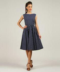 Navy Polka Dot Midi Dress