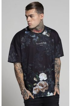 Illusive London Botanical Illusion Box Tee - Black & Cream