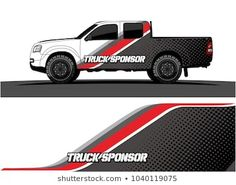 truck and vehicle Graphic vector. Racing background for vinyl wrap and decal , Car Stickers, Car Decals, Car Vector, Vector Graphics, White Truck, En Stock, Car Wrap, Vinyl, Pickup Trucks
