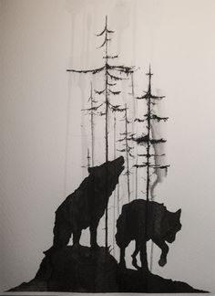 tree and wolf Tattoo Design - Hmm.I really like silhouette wolf forms with the almost bare trees. Very good simple tat idea! Wolf Tattoo Design, Tattoo Designs, Wolf Tattoos, Tatoos, Tribal Wolf Tattoo, Octopus Tattoos, Trendy Tattoos, New Tattoos, Tattoos For Guys