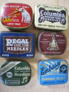 Assorted GRAMOPHONE NEEDLE TINS