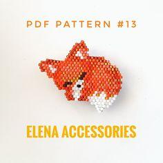Welpe Fox PDF brick stitch pattern for miyuki delica & toho tresure beads - - Peyote Patterns, Beading Patterns, Flower Patterns, Jewelry Patterns, Embroidery Patterns, Jewelry Ideas, Knitting Patterns, Bracelet Patterns, Melty Bead Patterns