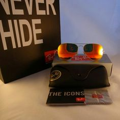 NWT Authentic Ray Ban Aviator 3025 Orange Flash Lens up to 70% sale from original outlet store.  Size:  58mm Frame:  gold   100% authentic 100% guaranteed money back in 7 days 100% satisfied customers   Item comes with original case and Ray Ban shopping bag.