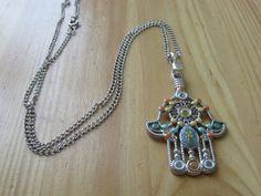 Colorful hamsa pendant necklace on Etsy, $7.00