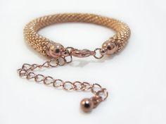 Beaded crochet rope bracelet beadwork rose gold by DwarfsTreasure