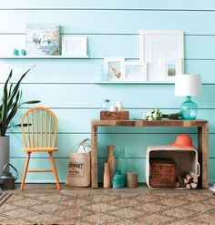 How to make a gorgeous beach-house #entryway. #hallway. Living room wall @ the bottom of the attic stairs.