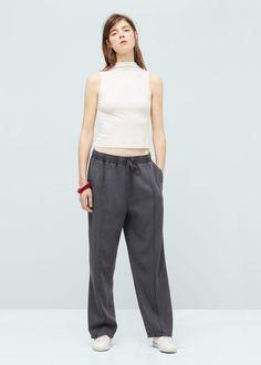 20eu Pantalón tejido soft - Pantalones de Mujer | MANGO España