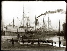 Schepen in het ijs, Houthaven, 1893, Jacob Olie
