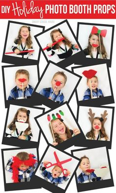 DIY photo booth props! This is a great idea to keep the kiddos entertained while they wait to eat, then wait to open gifts.