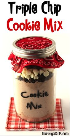 SUPER EASY!  Triple Chip Cookie Mix in a Jar! ~ from TheFrugalGirls.com - this easy mason jar gift recipe is the chocolate lover's dream and makes the BEST cookies!! #recipes #thefrugalgirls