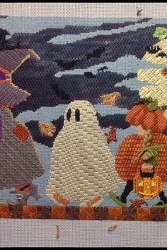 Needlepoint detail Halloween March by Ashley Dillon