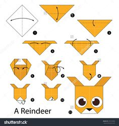 - Step By Step Instructions How To Make Origami A Reindeer. Stock vektorkép 397474906 : Shutterstock Diy Origami, Origami Simple, How To Make Origami, Paper Crafts Origami, Origami Tutorial, Diy Tutorial, Origami Reindeer, Origami Christmas, Diagrammes Origami