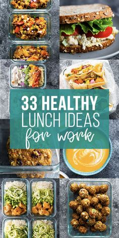 33 healthy lunch ideas for work- save yourself money and eat healthier by making your own lunch. Get a ton of lunch ideas including cold salads, hot lunches, granola bars, snacks and soups! Simple and healthy lunch recipes. Healthy Diet Snacks, Healthy Lunches For Work, Clean Lunches, Healthy Low Calorie Meals, Cold Lunches, Healthy Grains, Healthy Eating, Lunch Meal Prep, Meal Prep Bowls