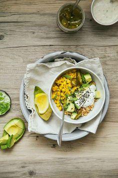 Farro Breakfast Bowl with Scrambled Chickpeas