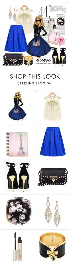 """""""Romwe Blue Skirt"""" by diva1 ❤ liked on Polyvore featuring Balmain, Valentino, Pop Beauty, ABS by Allen Schwartz, By Terry, Juicy Couture, contest, skirt, Blue and romwe"""