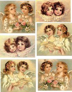 54 karácsonyi angyal | PaGi Decoplage Paper Angel, Angel Art, Decoupage Vintage, Vintage Paper Dolls, Vintage Christmas Images, Vintage Images, Vintage Prints, Vintage Art, Jar Art