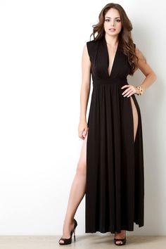 Plunging V Wide Shoulder High Slit Dress – Style Lavish
