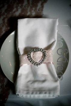 Pink and lace serviette rings
