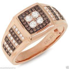 Mens 0.63 CT 14K Rose Gold Square Top Round Diamond Mans Diamond Ring Band #SageDesigns #Band