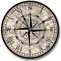 Compass Rose with old map pattern wall CLOCK beachy and antique home... ($20) ❤ liked on Polyvore featuring home, home decor, clocks, map compass, antique compass rose, antique compass, antique wall clocks and map clock