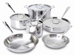 $749.99 This stainless steel 10-piece set provides you with every day cooking essentials:  Favored by chefs and cooking enthusiasts,stainless steel cookware boasts a starburst finish that provides superior stick resistance. layer of aluminum between the stainless steel to provide excelent heat conductivity.Premium tri-ply construction evenly distributes heat: