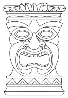 Tiki Totem Mask coloring page from Tiki category. Select from 20946 printable crafts of cartoons, nature, animals, Bible and many more.