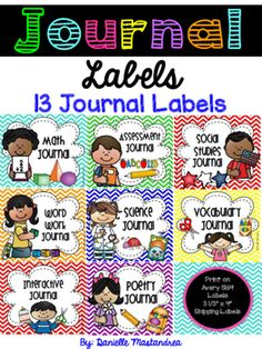These labels will jazz up your classroom journals! Included are the following 13…